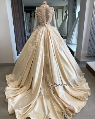 Feathers Ball-Gown Appliques Long-Sleeves High-Neck Attractive Wedding Dresses_4