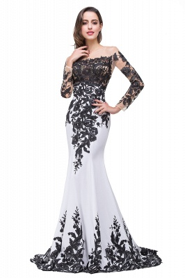 Glamorous Long Sleeve Mermaid 2020 Evening Dress Black Appliques Mother Dress_4
