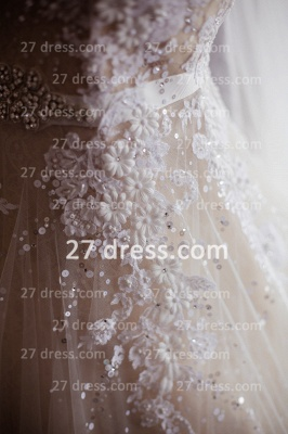 Train A-line Wedding Dresses Bridal Gowns with 2020 Sheer Tulle Buttons Sleeveless Applique Beaded Court_4
