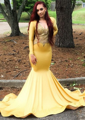 Gorgeous Yellow Long Sleeve Prom Dress | 2020 Mermaid Evening Gowns_1