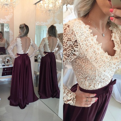 Stunning Long Sleeve Lace Pearls Prom Dresses 2020 Long Party Gowns BT0_4