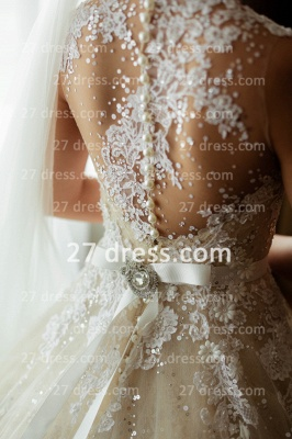 Train A-line Wedding Dresses Bridal Gowns with 2020 Sheer Tulle Buttons Sleeveless Applique Beaded Court_5