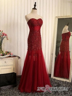 Gorgeous Sweetheart Mermaid 2020 Prom Dress Tulle With Lace Appliques_3