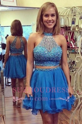 Mini Two-Piece Gorgeous Crystals Halter A-line Homecoming Dress_1