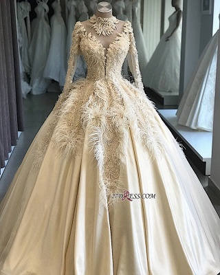 Feathers Ball-Gown Appliques Long-Sleeves High-Neck Attractive Wedding Dresses_2