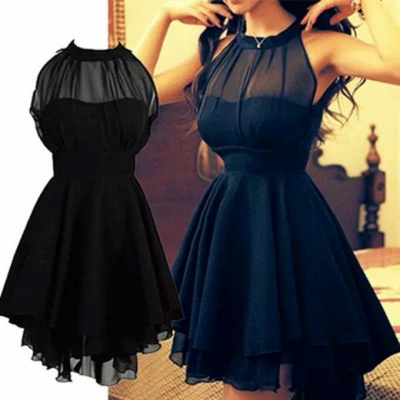 Elegant High neck Chiffon Summer Homecoming Dress_3