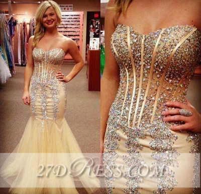 Shining Sweetheart Mermaid Evening Dresses Tulle Prom Gowns with Beadings_2
