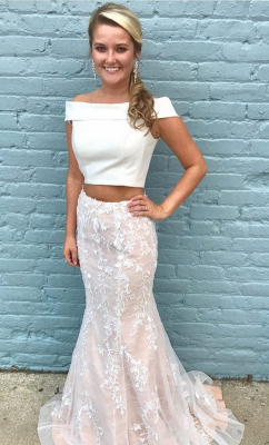 Elegant White Off-the-Shoulder Lace Prom Dress| Mermaid Two Pieces Long Evening Gowns on Sale_1