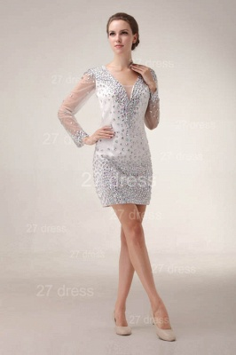 Mini V-Neck Sheath Homecoming Dresses 2020 Long Sleeve Crystal Cocktail Gowns_1