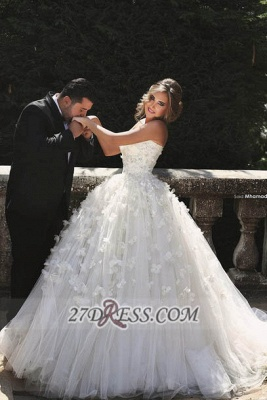Glamorous Sweetheart Sleeveless Tulle Wedding dress With Ball Gown Floor-length Flowers_1