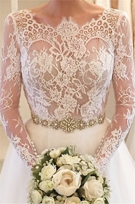 Elegant Illusion Long Sleeve Tulle Wedding Dress With Lace Beadings BA5175_1