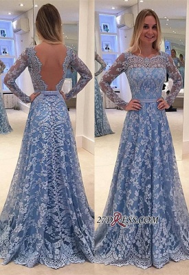 Lace Backless Long-Sleeve Sweep-Train A-line Delicate Long Prom Dress_2