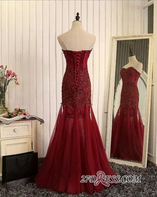 Gorgeous Sweetheart Mermaid 2020 Prom Dress Tulle With Lace Appliques_2