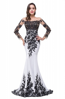 Glamorous Long Sleeve Mermaid 2020 Evening Dress Black Appliques Mother Dress_1