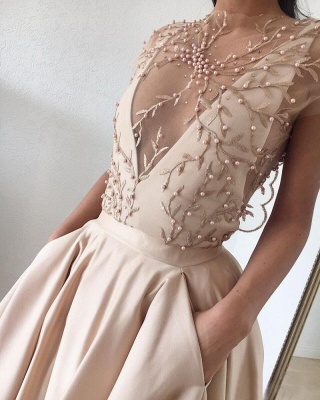 Cap-Sleeve 2020 Prom Dress | Beads Long Evening Gowns_4
