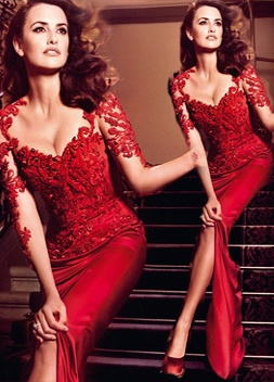 Hot Sale Red Lace Chiffon Evening Party dresses Short Sleeve Prom Dresses on sale_3