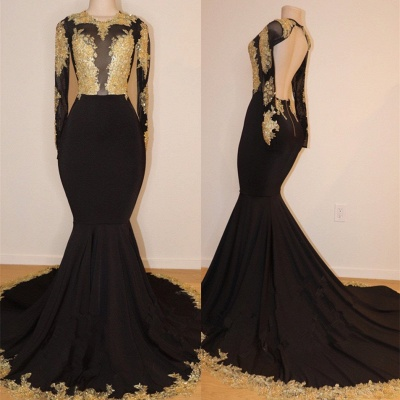 Gorgeous Long Sleeve Black Prom Dresses | 2020 Lace Appliques Long Evening Gowns BC1255_2