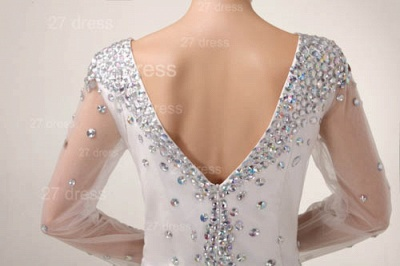 Mini V-Neck Sheath Homecoming Dresses 2020 Long Sleeve Crystal Cocktail Gowns_6