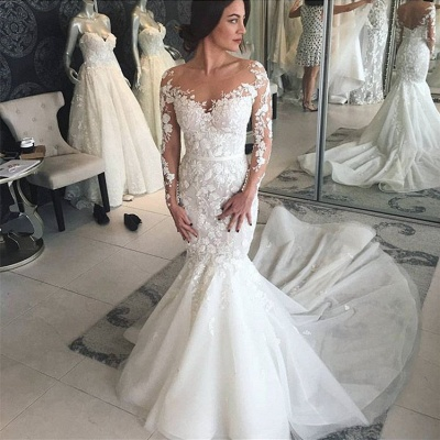 Charming Crew Long Sleeves Wedding Dress | Mermaid Lace Appliques Bridal Gowns On Sale_2