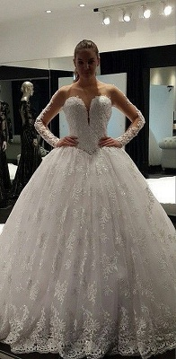 Charming Long Sleeve 2020 Lace Ball Gown Wedding Dress Floor-Length_1