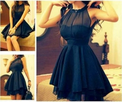 Elegant High neck Chiffon Summer Homecoming Dress_2