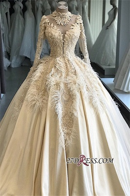 Feathers Ball-Gown Appliques Long-Sleeves High-Neck Attractive Wedding Dresses_5