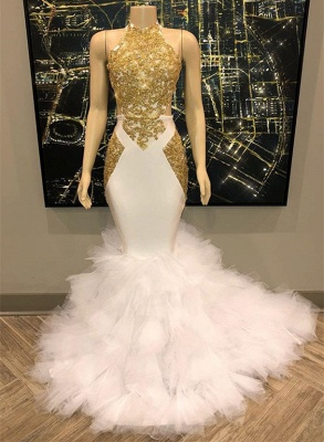 Gorgeous Halter Gold and White Prom Dress | 2020 Mermaid Long Evening Gowns BC1515_2