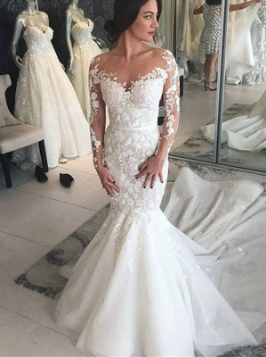 Charming Crew Long Sleeves Wedding Dress | Mermaid Lace Appliques Bridal Gowns On Sale_1