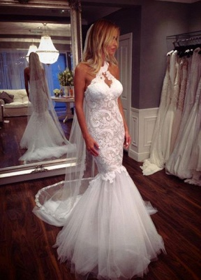 Mermaid Tulle Sleeveless Lace Halter Elegant Wedding Dress_1