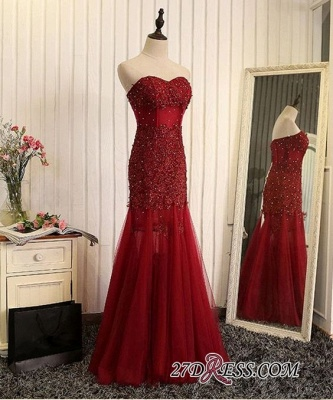 Gorgeous Sweetheart Mermaid 2020 Prom Dress Tulle With Lace Appliques_1