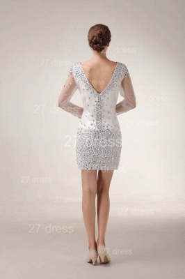 Mini V-Neck Sheath Homecoming Dresses 2020 Long Sleeve Crystal Cocktail Gowns_4