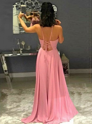 Gorgeous Spaghetti Strap Sleeveless Evening Gowns | Pink Criss Cross Strings Prom Dress With Split_3