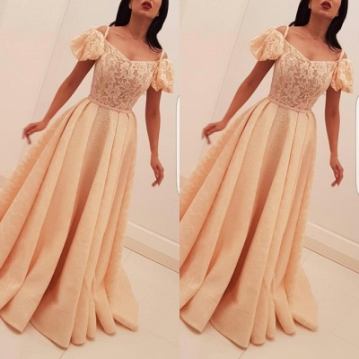 New arrival Bubble-Sleeves Long Evening Gown | Lace Appliques A Line Prom Dress On Sale_2