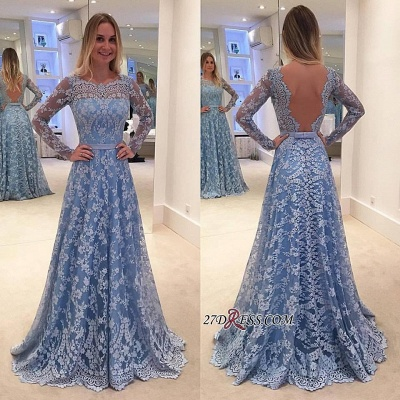 Lace Backless Long-Sleeve Sweep-Train A-line Delicate Long Prom Dress_1