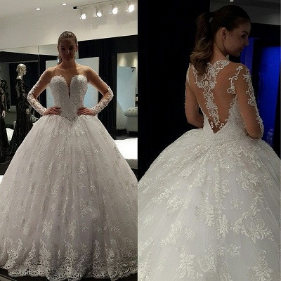 Charming Long Sleeve 2020 Lace Ball Gown Wedding Dress Floor-Length_2