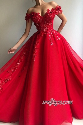 Off The Shoulder Empire A-Line Formal Dresses | Elegant Red Strapless Appliques Tulle Party Dresses_2