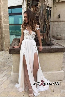 Chiffon Lace-Appliques Front-Split A-line Elegant Short-Sleeve Prom Dress_2