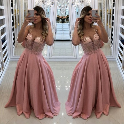 Gorgeous Pink Evening Dress | 2020 Long Prom Dress With Pearls_3