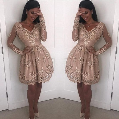 Elegant Long Sleeve Short Prom Dress   2020 Homecoming Dress With Lace Appliques_2