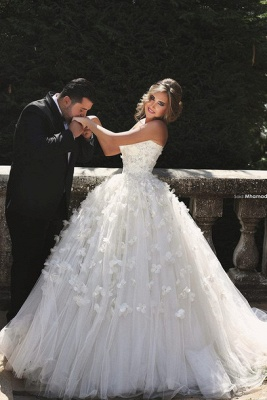 Glamorous Sweetheart Sleeveless Tulle Wedding dress With Ball Gown Floor-length Flowers_3