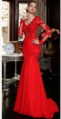 sexy red long sleeve mermaid prom dress with lace appliques sweep train_5
