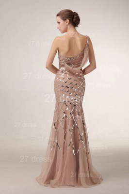 One Shoulder Mermaid Prom Gowns 2020 Sequined Sweep Train Evening Dresses_4