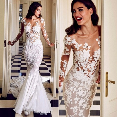 Charming Crew Long Sleeve Wedding Dresses | Mermaid Lace Appliques Bridal Gowns On Sale_5
