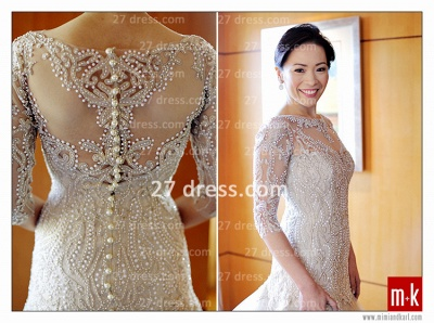 Train Wedding Dresses Bridal Gowns 2020 Beads Sequins Appliques Bateau Long Sleeves Button Back Court A-line_1
