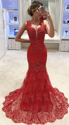 Gorgeous Sleeveless 2020 Evening Dress | Mermaid Lace Appliques Prom Dress_1