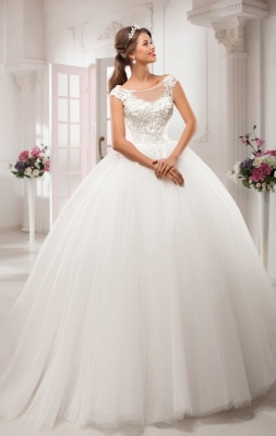 Elegant Illusion Cap Sleeve Tulle Wedding Dress Ball Gown With Lace Appliques_4