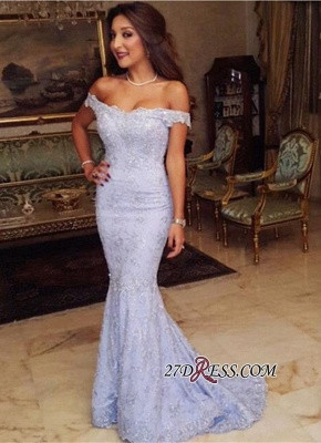 Sweep-Train Modest Lace Mermaid Off-the-shoulder 2020 Prom Dress BA7592_2