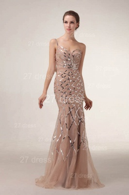 One Shoulder Mermaid Prom Gowns 2020 Sequined Sweep Train Evening Dresses_2