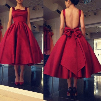 Modest Red Open Back 2020 Prom Dress Bow Square Tea Length BA6645_3
