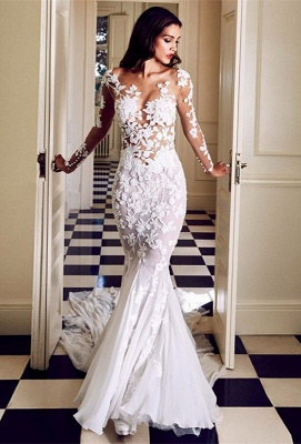 Charming Crew Long Sleeve Wedding Dresses | Mermaid Lace Appliques Bridal Gowns On Sale_1